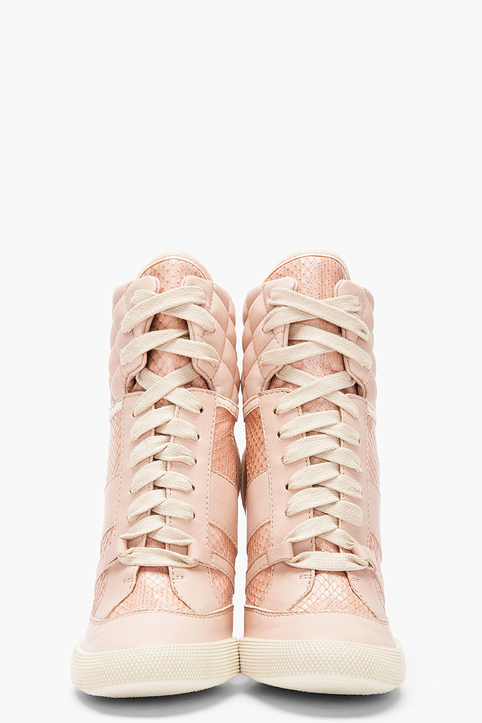 Lyst - Chloé Pink Snakeskin Wedge Sneakers in Pink