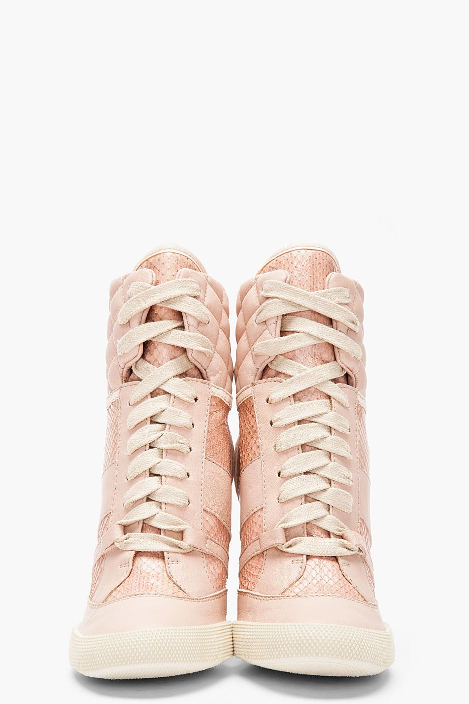 Lyst - Chloé Pink Snakeskin Wedge Sneakers in Pink