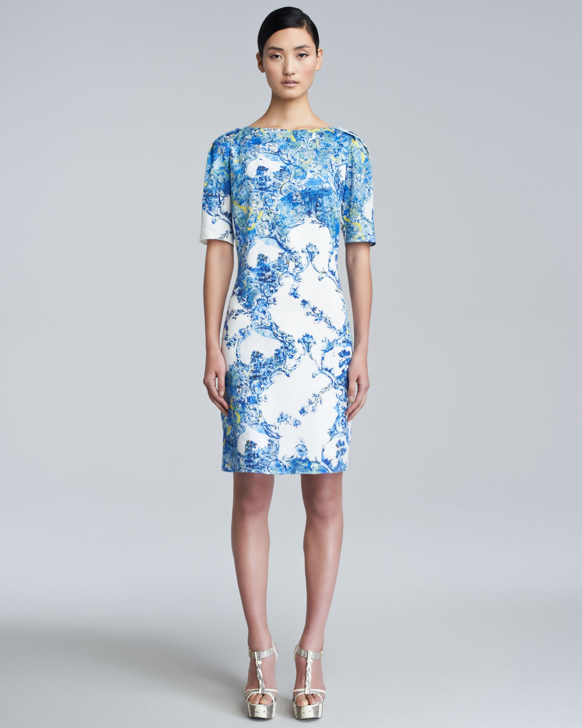 erdem bethany printed shortsleeve dress in blue lyst