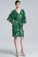 Escada Printed Silk Caftan Dress Green - Lyst