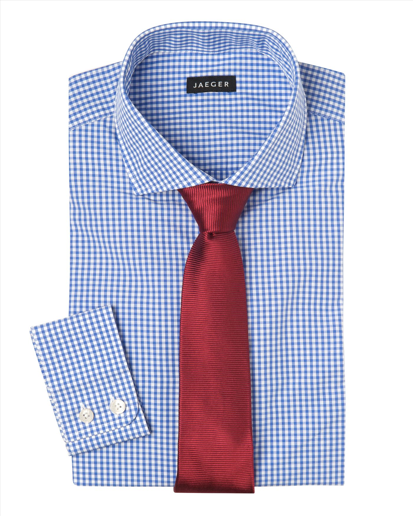 Jaeger small gingham shirt in blue for men lyst for Mens blue gingham shirt
