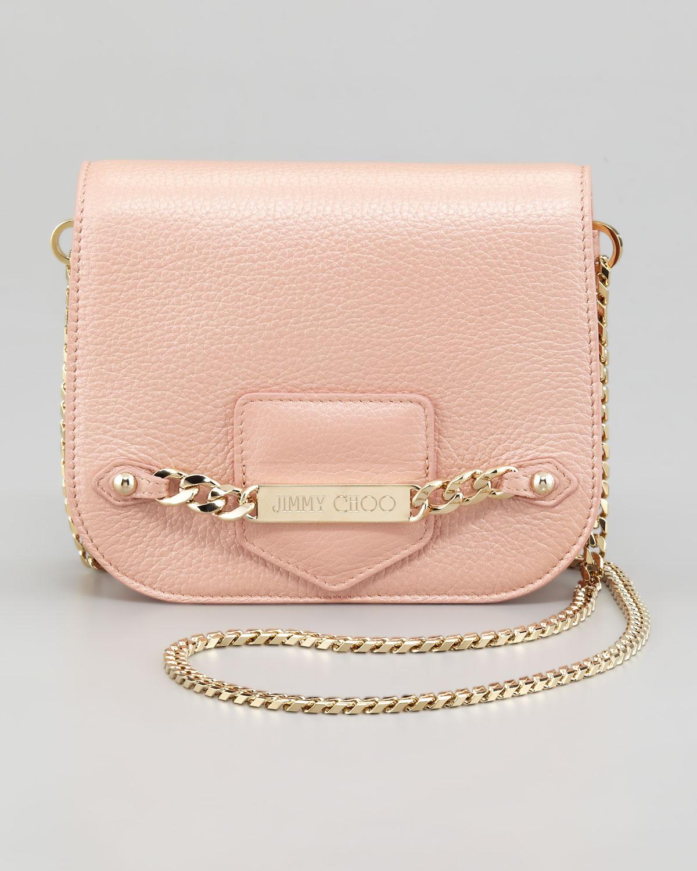 Jimmy choo Shadow Metallic Crossbody Bag in Pink | Lyst