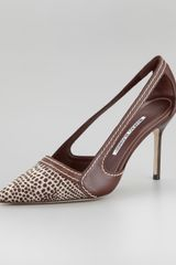 Manolo Blahnik Tifo Canvastoe Pump Chocolate - Lyst