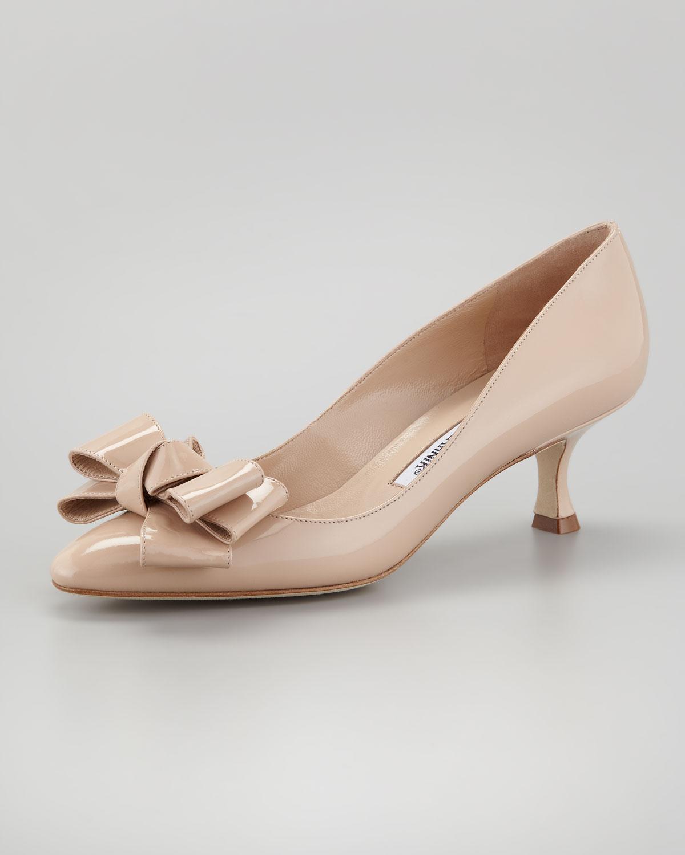 ef2610bb4c6 Lyst - Manolo Blahnik Lisane Bow Toe Pump in Pink