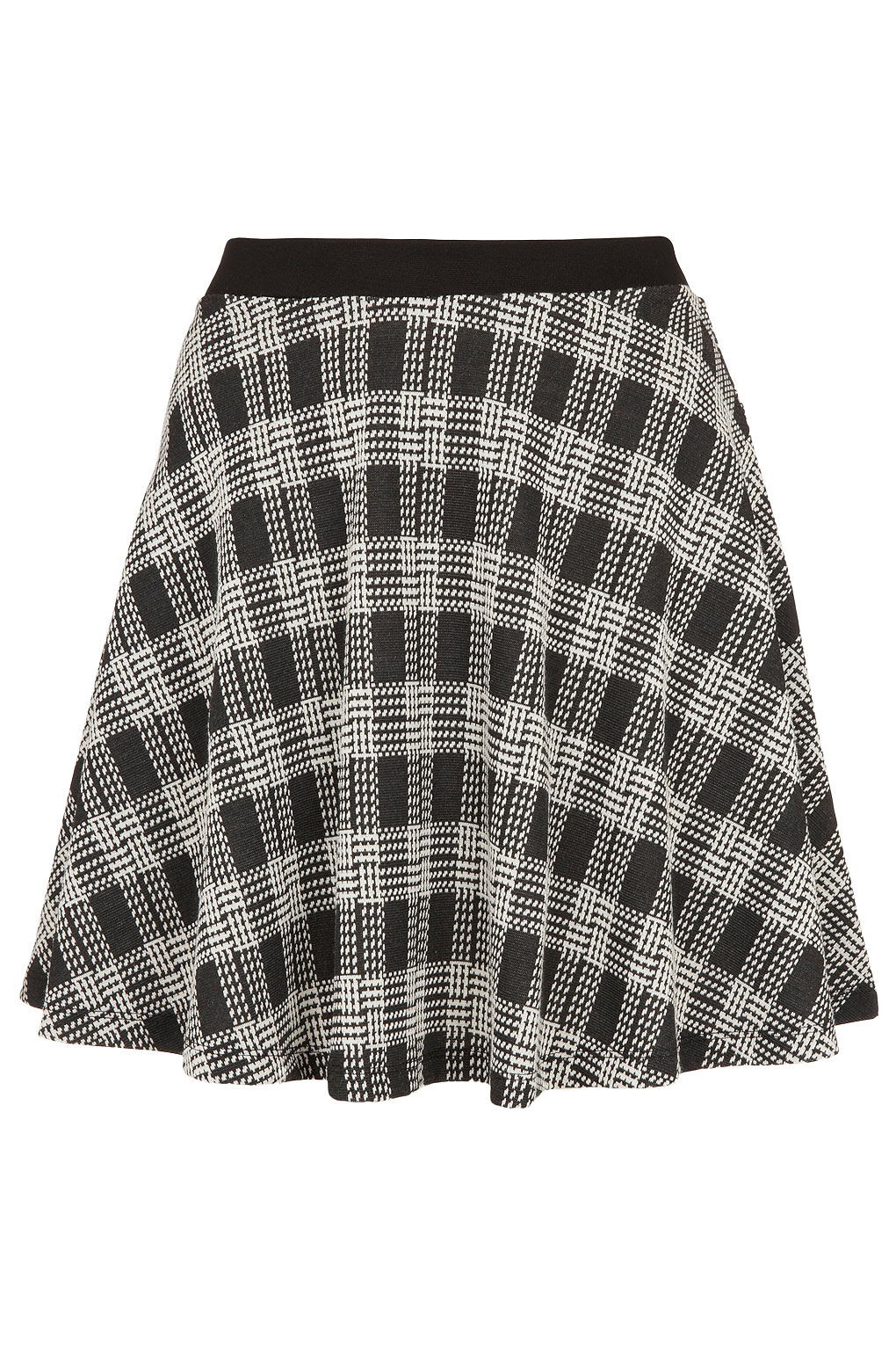 Topshop Black Check Skater Skirt in Black | Lyst
