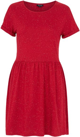 Topshop Speckle Roll Sleeve Mini Dress - Lyst
