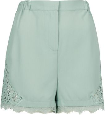 Topshop Crochet Side Panel Shorts - Lyst