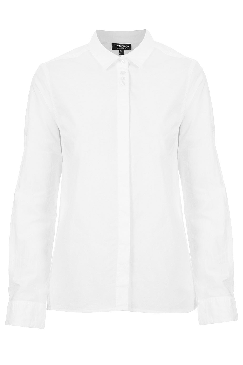 Topshop Long Sleeve White Shirt in White | Lyst