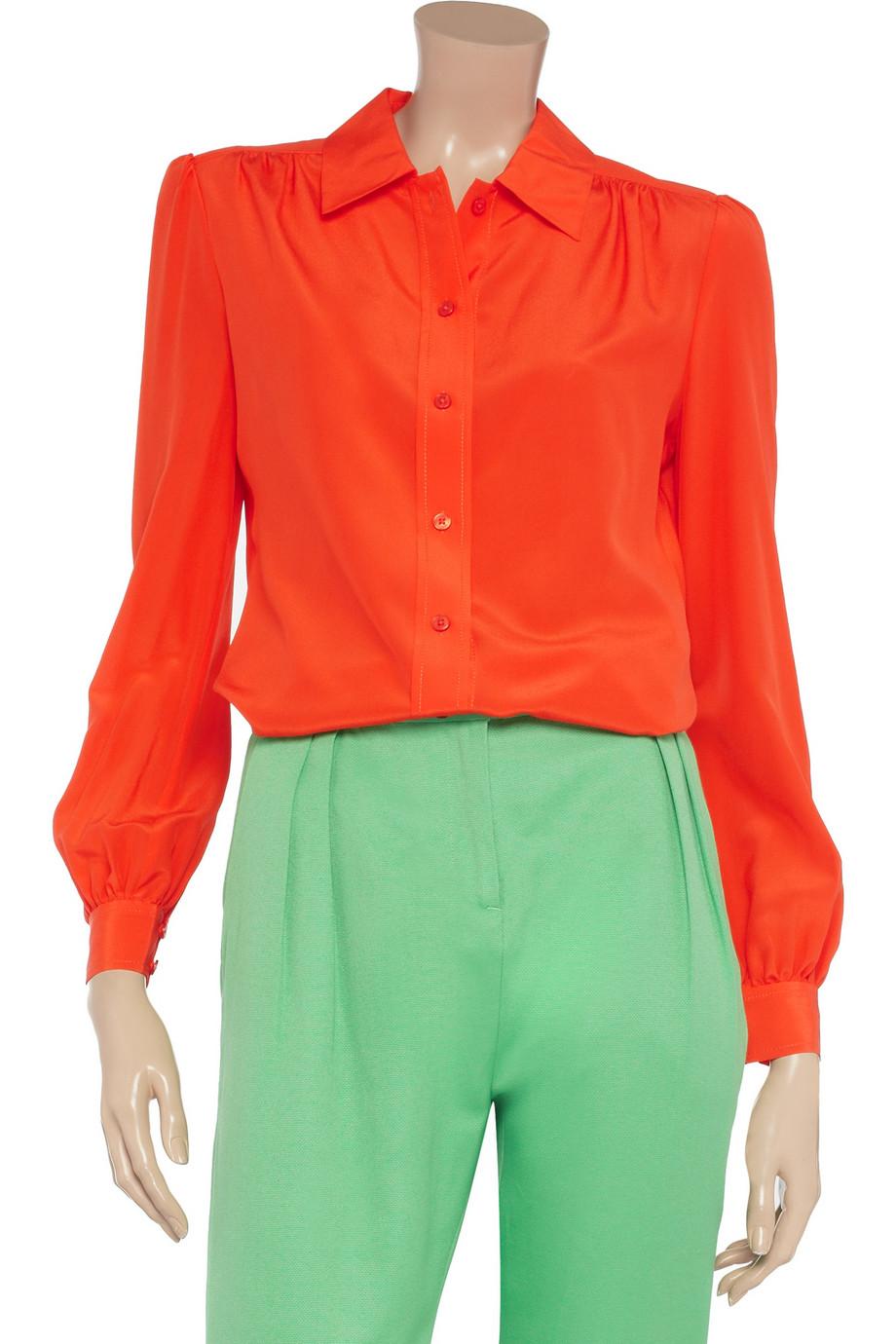 c57827b03338a Lyst - Tory Burch Angelique Silk Shirt in Orange
