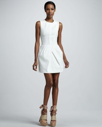 Vera Wang Corseted Cotton Poplin Dress White - Lyst