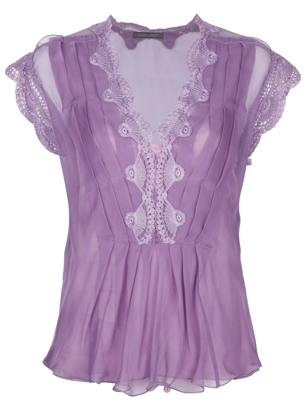 Alberta Ferretti Lace Embroidered Top In Purple  Lyst