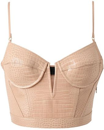 Alexander Wang Crocodile Embossed Leather Bustier - Lyst