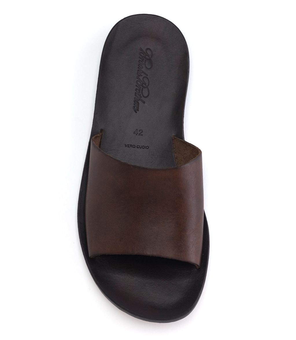 Brooks Brothers Leather Slide Sandal In Brown For Men Lyst