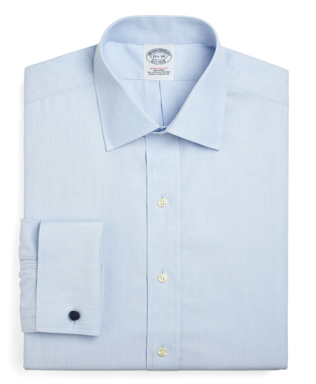 Brooks brothers non iron milano fit spread collar french for Light blue french cuff dress shirt