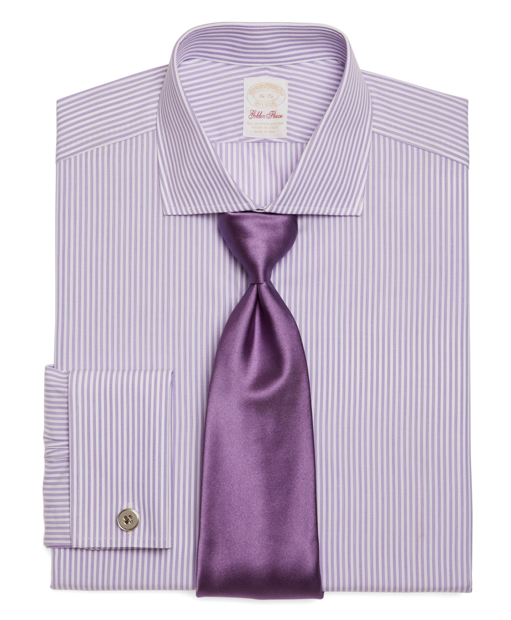 Brooks brothers golden fleece madison fit hairline stripe for Purple french cuff dress shirt