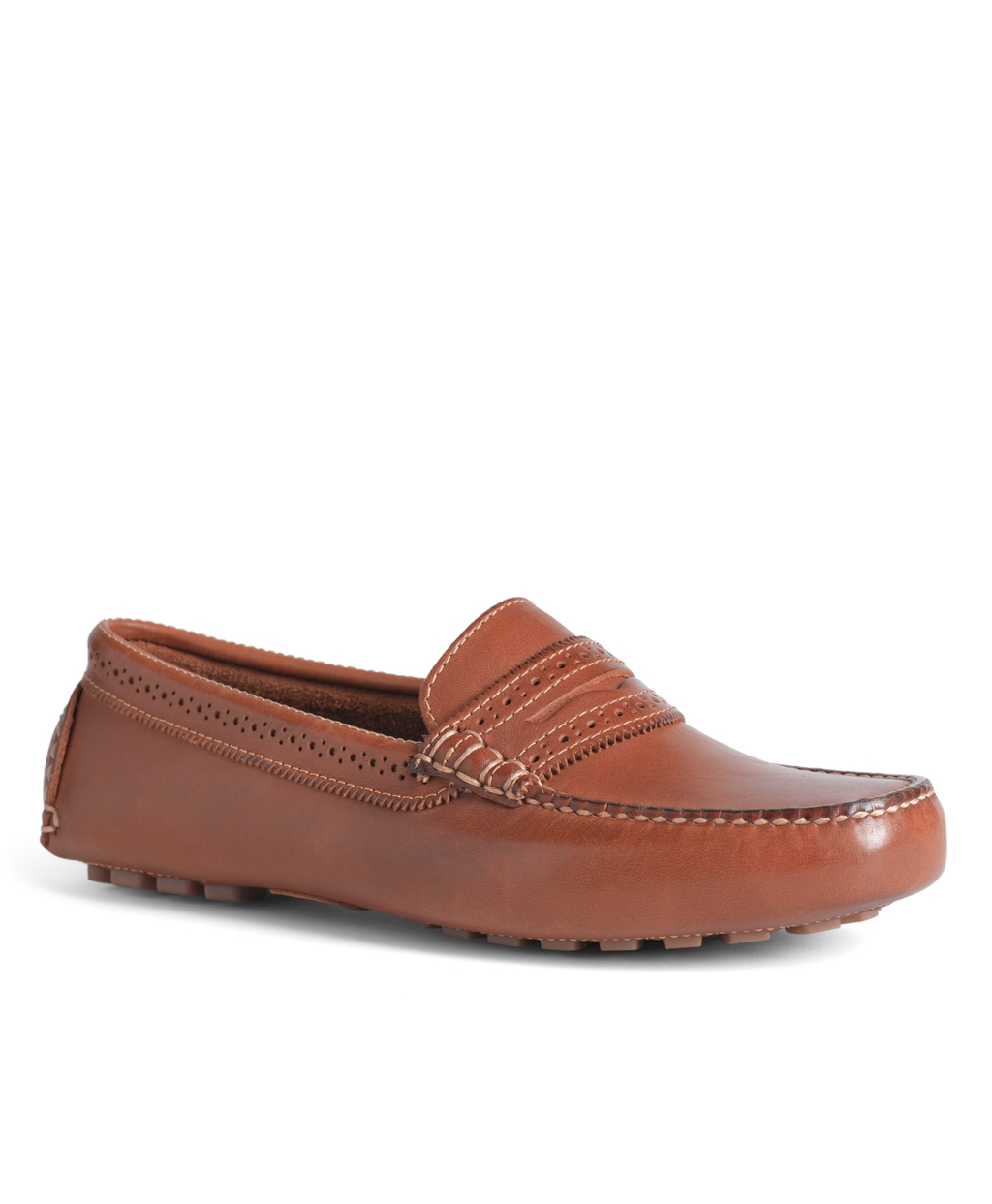 Brooks Brothers Burnished Calfskin Driver Shoes in Brown (tan