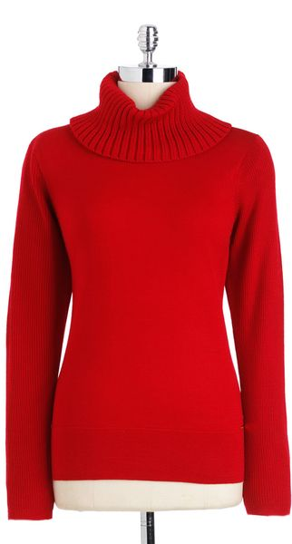 Calvin Klein Cowlneck Pullover Sweater in Red (rouge) - Lyst