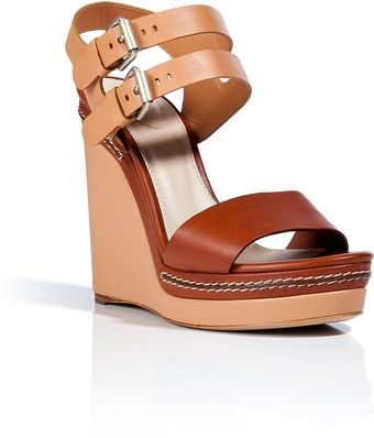 Chloé Nudechestnut Leather Wedge Sandals - Lyst
