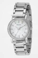 DKNY Crystalaccent Stainless Steel Link Bracelet Watch - Lyst