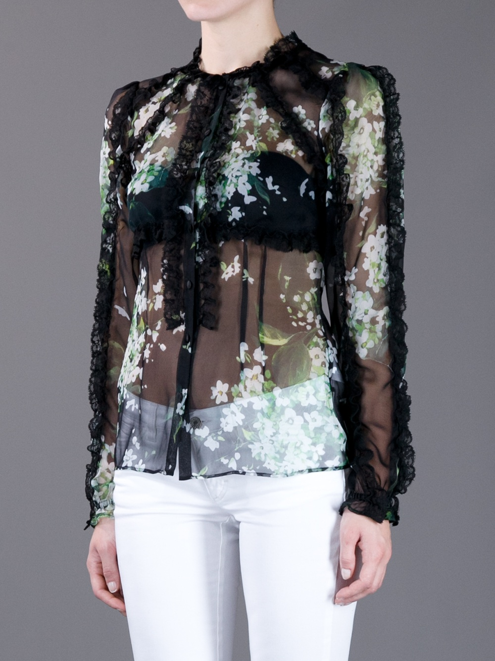 Dolce Amp Gabbana Ruffle Sheer Floral Print Blouse In Black