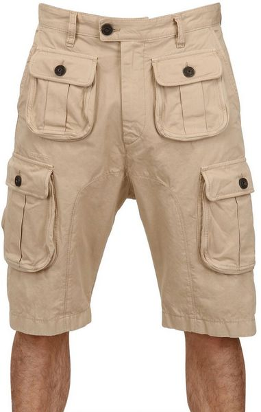 Dsquared² Dyed Military Cargo Cotton Canvas Shorts in Beige for Men