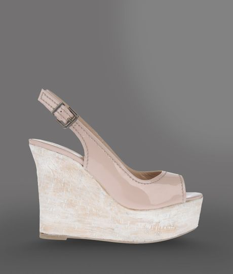 emporio armani wedge in pink light pink lyst