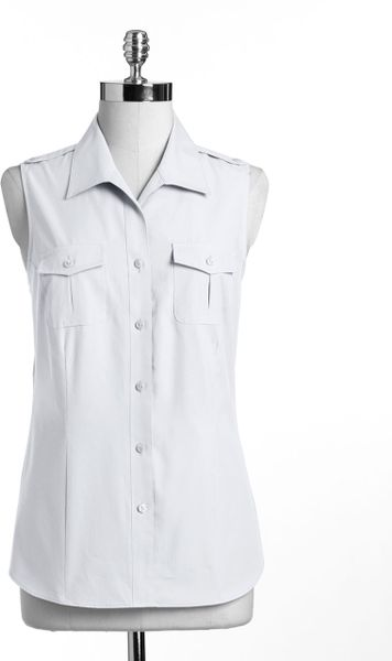 Foxcroft Sleeveless Wing Collared Shirt In White Lyst