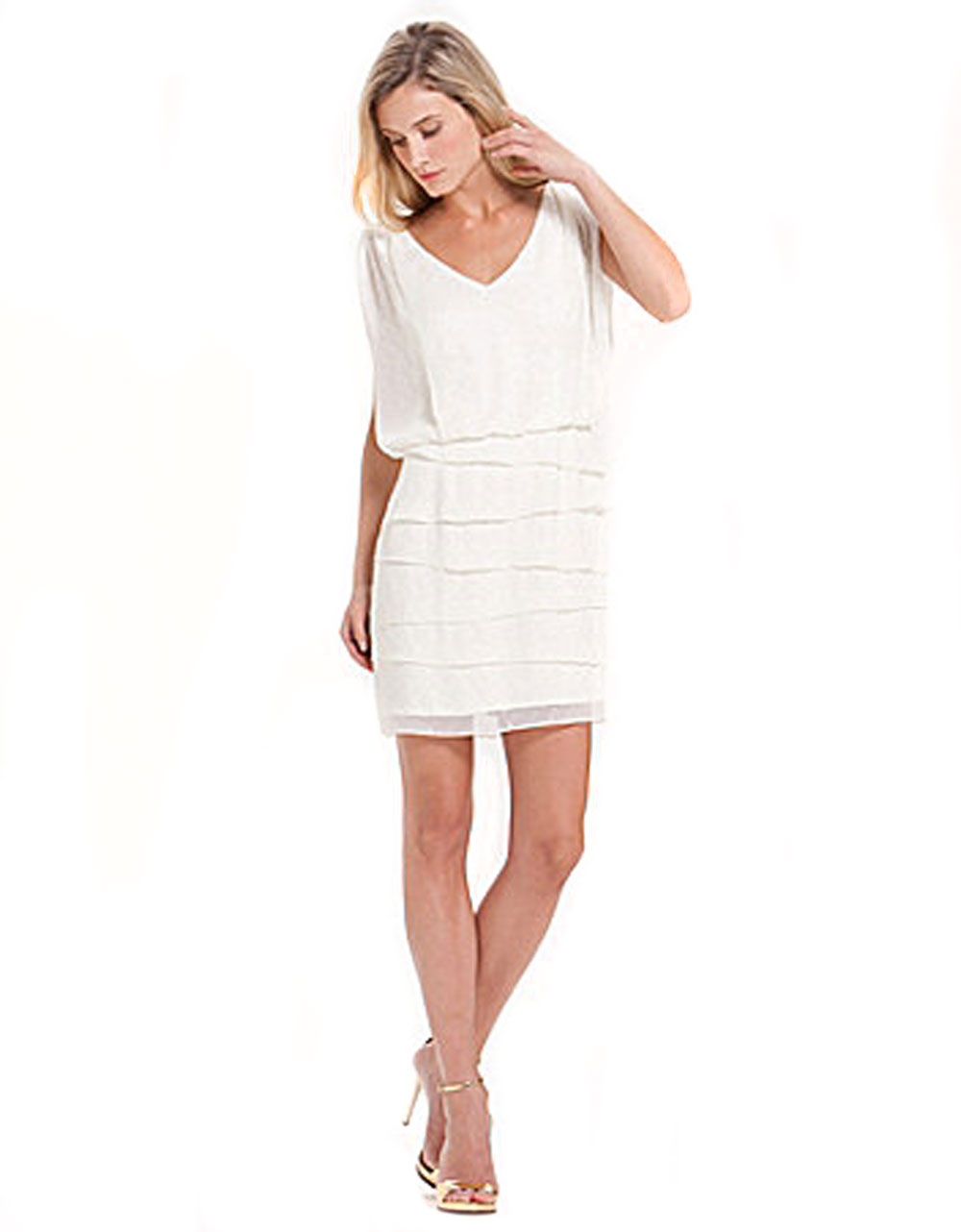 laundry by shelli segal laundry by shelli segal tieredskirt dress in white pearl 12096