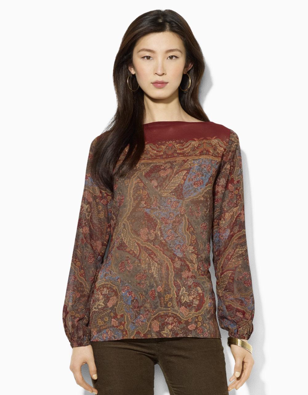 lauren by ralph lauren georgette boatneck blouse in brown multi lyst. Black Bedroom Furniture Sets. Home Design Ideas