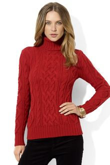 Lauren by Ralph Lauren Petites Cableknit Turtleneck Sweater - Lyst