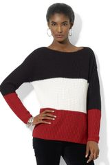 Lauren by Ralph Lauren Longsleeve Colorblock Boatneck Sweater - Lyst