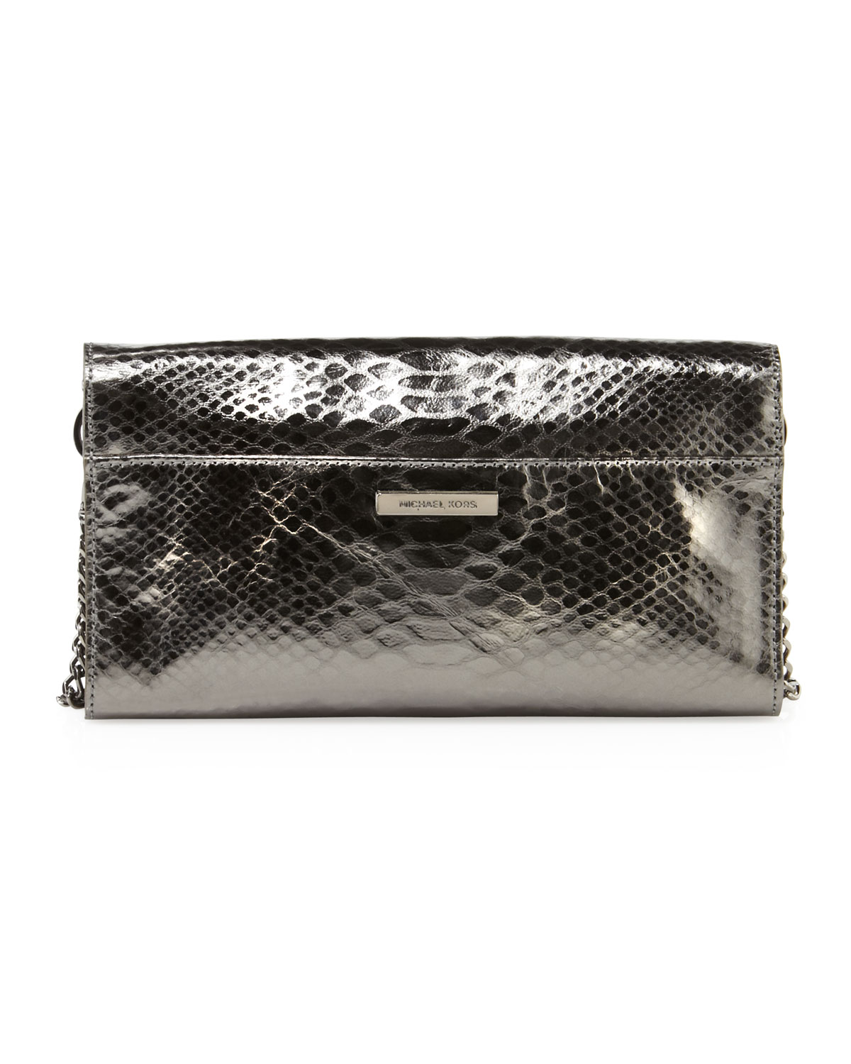 59dc2dd5ed MICHAEL Michael Kors Antonia Python Embossed Clutch Bag in Metallic ...