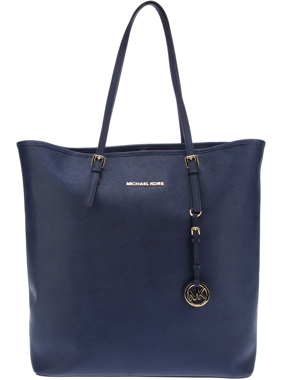 michael michael kors large shopping tote in blue navy lyst. Black Bedroom Furniture Sets. Home Design Ideas