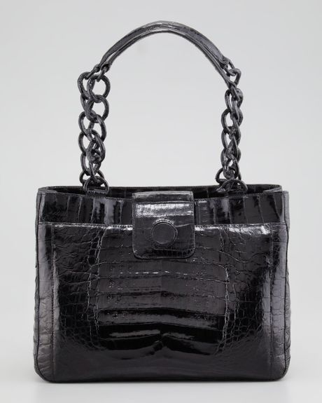 Nancy gonzalez small chain crocodile tote bag in black lyst for Nancy gonzalez crocodile tote