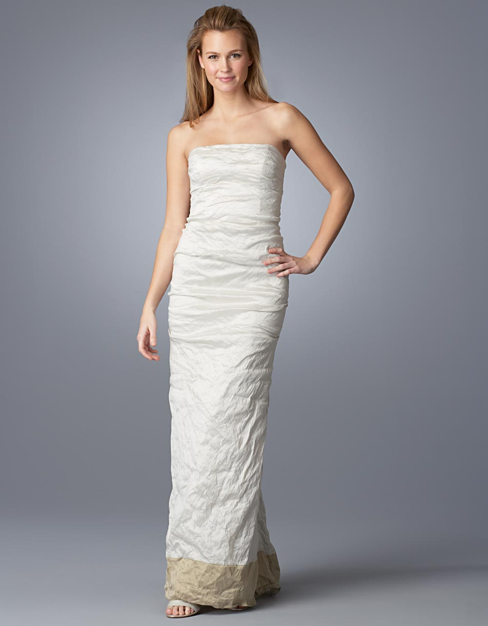 Nicole miller stretch metallic taffeta strapless gown in for Nicole miller strapless wedding dress