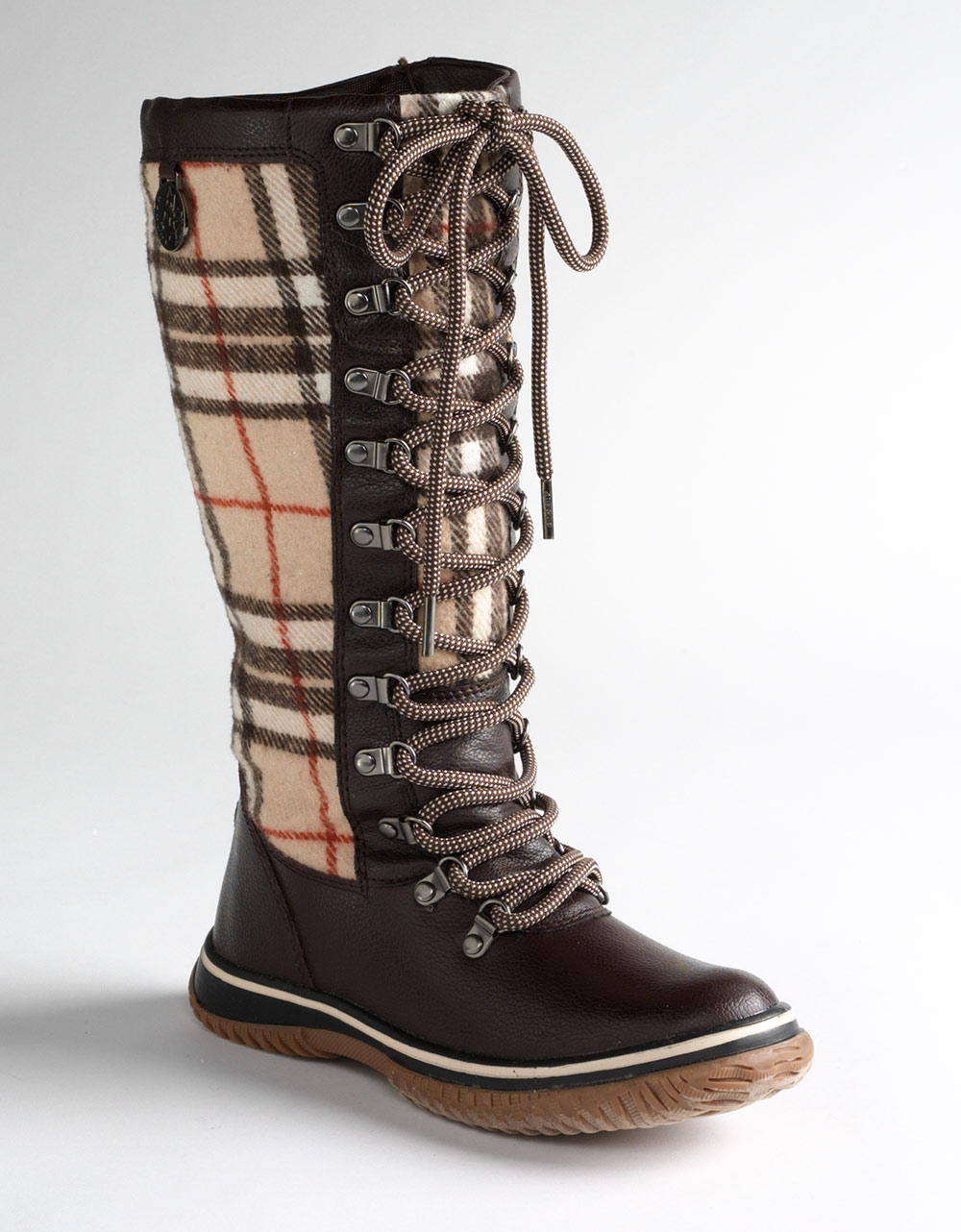 pajar buzz plaid leather boots in brown fabric lyst