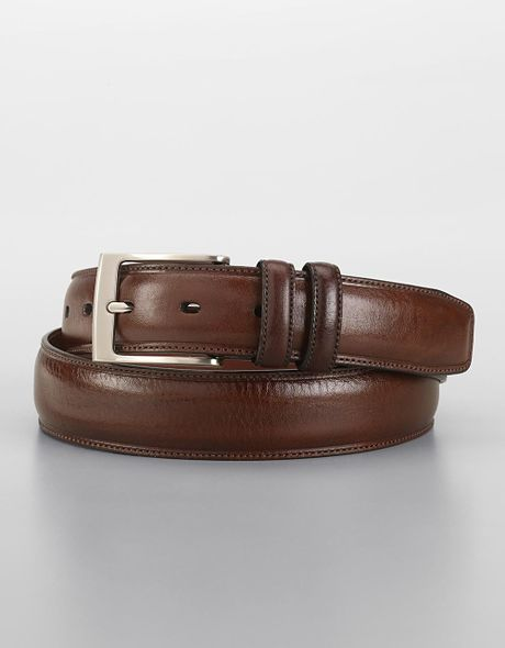 perry ellis feathered edge leather dress belt in brown for