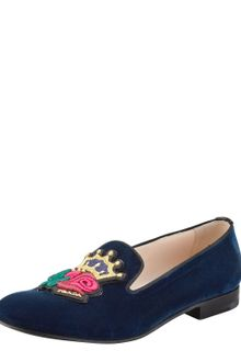 Prada Velvet Roseembroidered Smoking Slippers - Lyst