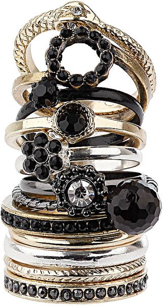 Topshop Jet Flower Ring Pack - Lyst