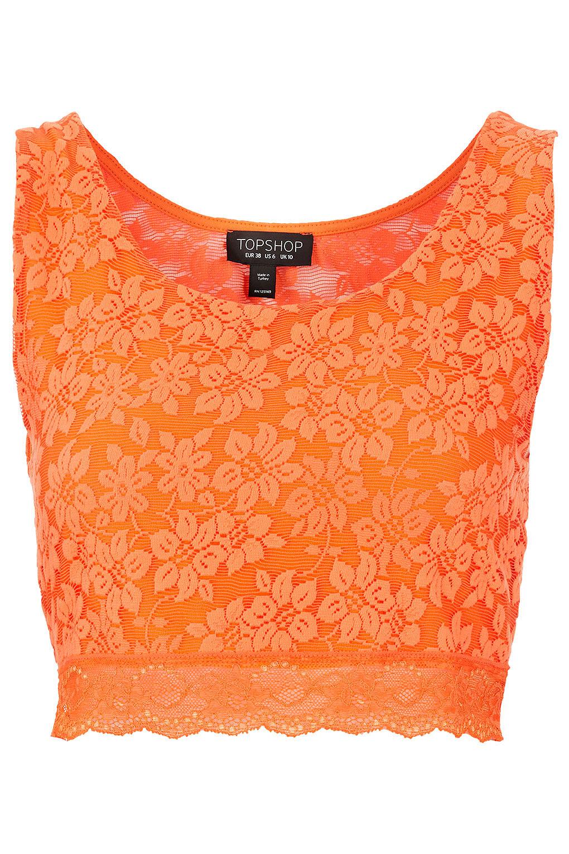 Orange Top With Umbrella Sleeves The Vanca: Topshop Lace Crop Top In Orange
