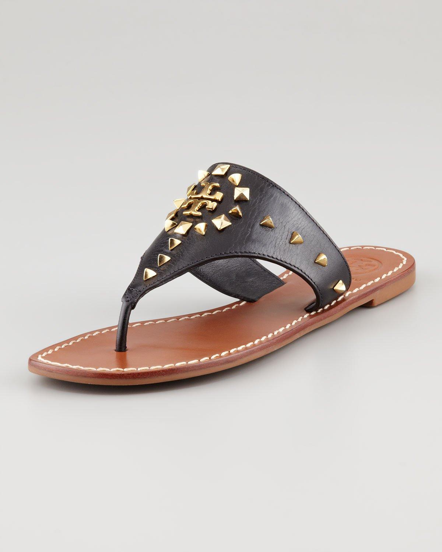 5daa52c448039 Tory Burch Dale Studded Thong Sandal in Black - Lyst