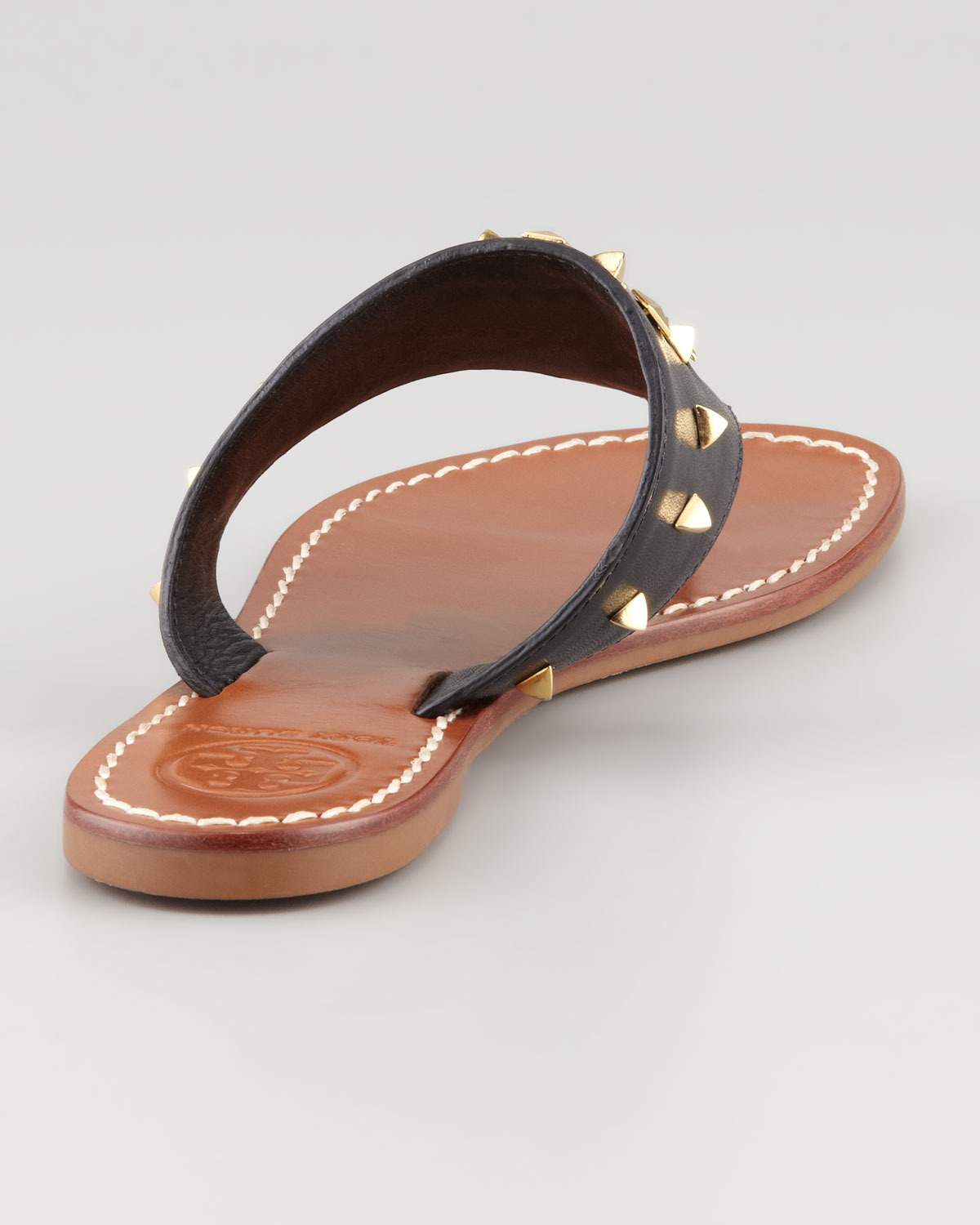 ef9028d007dd Lyst - Tory Burch Dale Studded Thong Sandal in Black