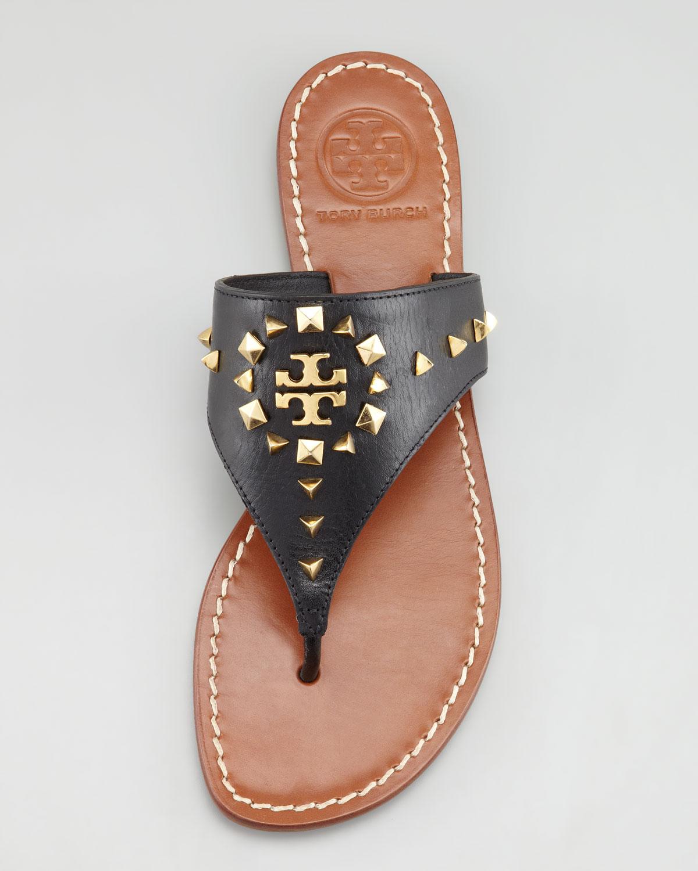 dbf4f4dc1f2c Tory Burch Dale Studded Thong Sandal in Black - Lyst