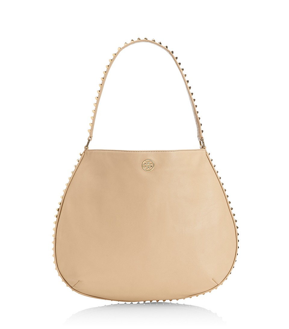 72148973063b Lyst - Tory Burch Pyramid Stud Hobo in Natural