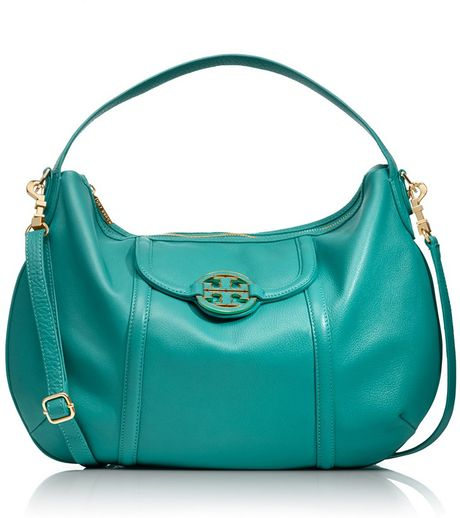 Tory Burch Amanda Crossbody Hobo in Green (turq) - Lyst