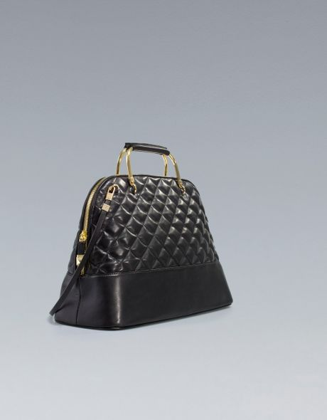 d0500e3ca10 Zara City Bag with Quilted Metal Handles in Black