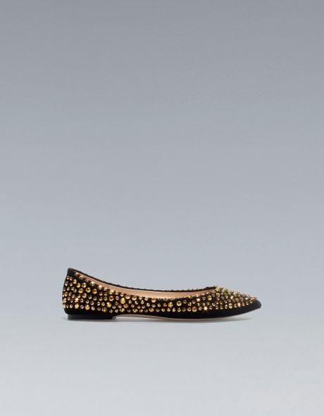 Zara Flat Court Shoe With Rhinestones In Gold Black Lyst