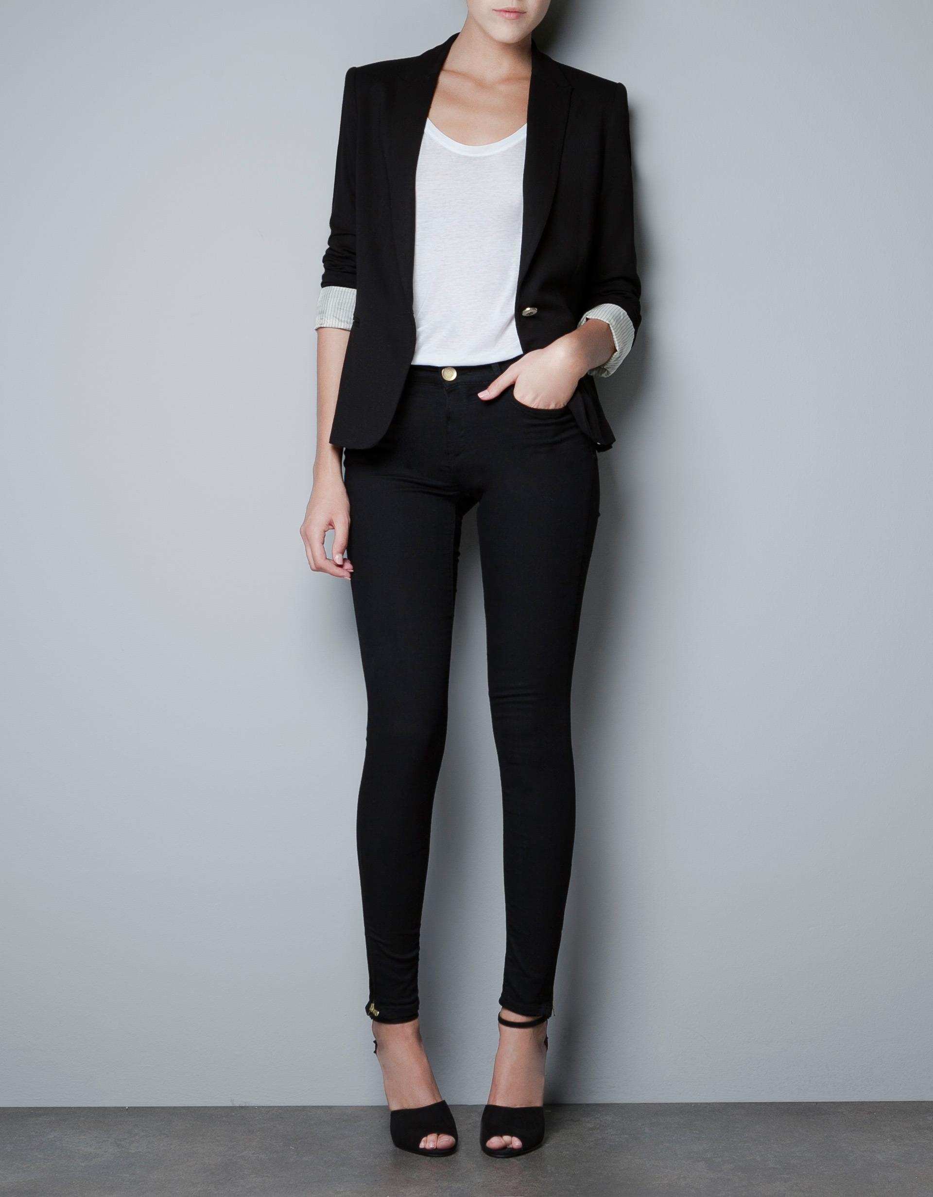 Zara Jersey Blazer In Black | Lyst