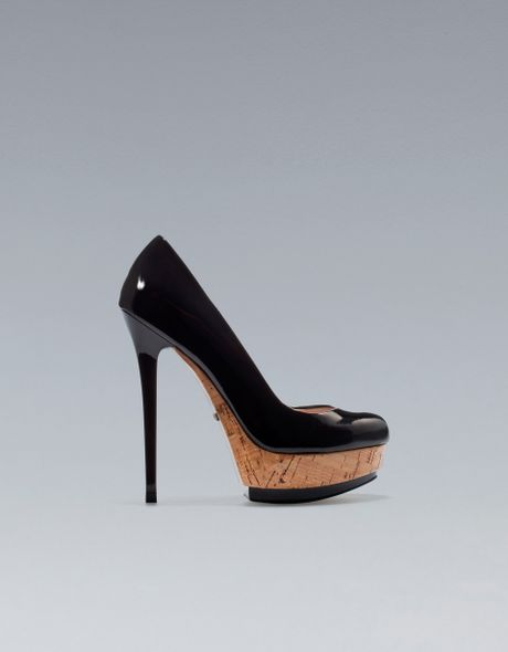 zara patent leather platform court shoe in black lyst
