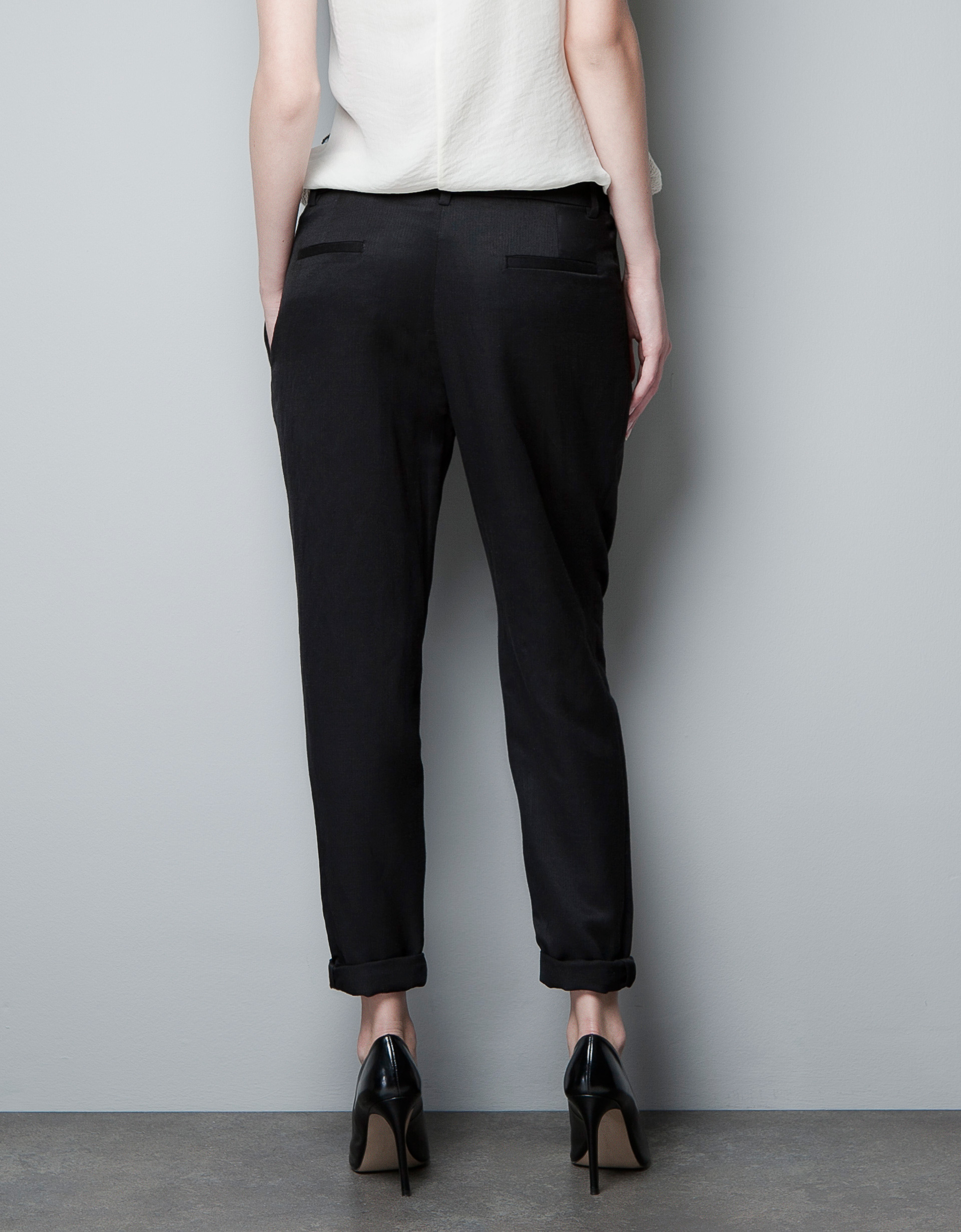 Zara Pleated Trousers in Black | Lyst